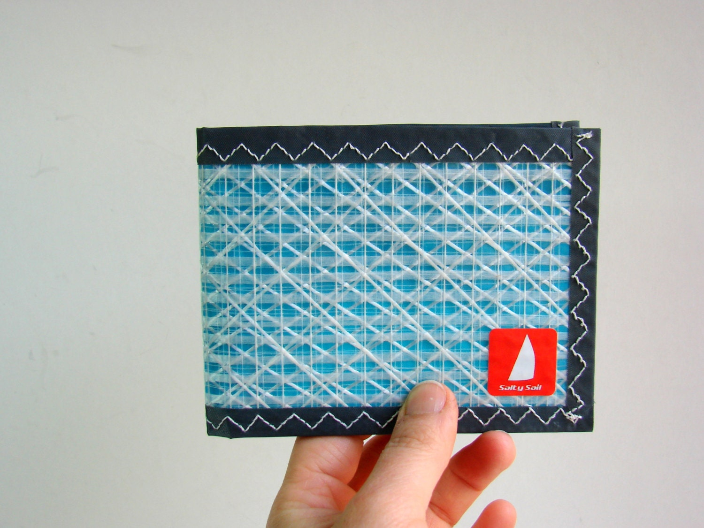 Unisex Bifold Pentex Sailcloth Wallet White Turquoise Grey
