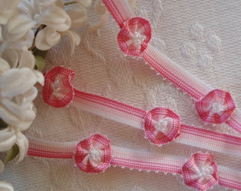 1y French Ombre Pink Rococo Rosette Flower Ribbon Hat Doll Trim Supply Scrapbook France Crazy Quilt Flapper Dress Boudoir Shabby Chic
