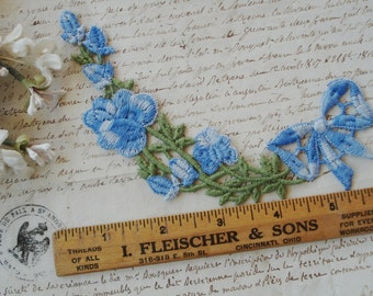 Vintage Schiffli Venise Lace Ombre Blue Embroidered Floral Bow Garland Lace Applique Trim Edging French Doll Dress Millinery Flowers Ribbon