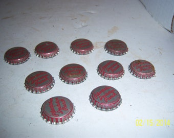 1950's Lot of 10  New Old stock Unused Plantation Punch Hyco Bottling Co Fall River, Mass cork lined  bottle caps crafts Decoration wedding