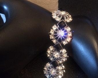 Vintage Jewelry Estate Awesome  Glitzy shimmering Rhinestone bracelet signed ORA