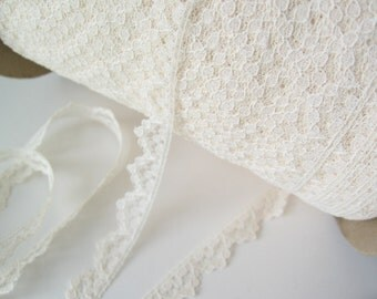 "ivory lace trim 8 yards scalloped  3/8"" wide"