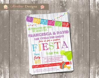 Couples Fiesta Bridal/Baby Shower Invitation (Papel Picado, Lights) DIGITAL FILE