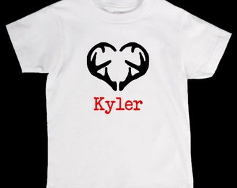 Valentines Day Deer Antler Heart Personalized Onesie or Kid's T-Shirt - Two Color