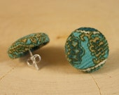 Turquoise Button Earrings- Paisley Corduroy Fabric Button Earrings- Post/ Stud