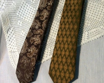 Vintage Men's Neckties, Set of Two, Mad Men Era, Made in France, Narrow Width