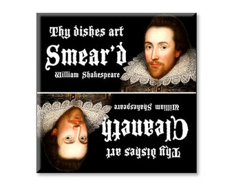 Clean Dirty Dishwasher Magnet William Shakespeare Funny Poetry Magnet