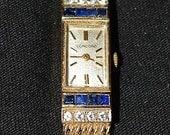 Ladies Estate Solid 14k gold Sapphire and Diamond Concord Watch w/ Original Box
