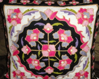"""Pink, black, white embroidered pillow covers 18""""x18"""", decorative pillow,throw pillow cases.Disigners pillow shams.Olive green,red,blue"""