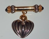 vintage bar brooch hanging heart