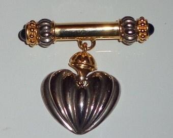 vintage bar brooch hanging heart*