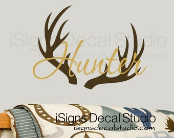 Monogram Antlers Decal Vinyl Wall Decal Deer Buck Antlers - Custom vinyl wall decals deer