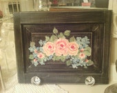 Shabby Chic Roses and Hydrangea  Wall Hanger with Cut Glass Clear knobs