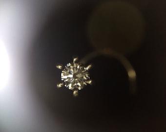 Stunning Fiery Diamond Nose pin Stud in 14K 18K and Platinum