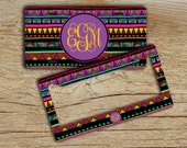 Monogram Aztec license plate or frame, Tribal car tag, Front car plate license, Cute bicycle accessories, Aztec car accessory purple (9888)