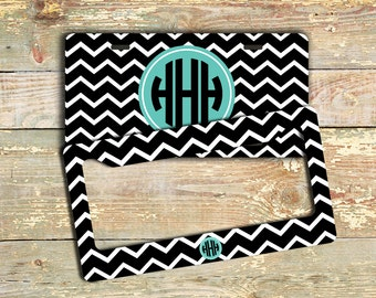 monogrammed gift license plate frame black white chevron blue monogram personalized car tag front license plate bicycle bike 9814