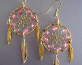Dream Catcher Earrings ~ Gold with Cherry Quartz Gemstones