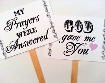 my ORIGINALWedding Engagement -I Am My Beloved's/God Gave Me You- Double Sided Wedding Photo BoothProps - White Paper Goods- Set of 2
