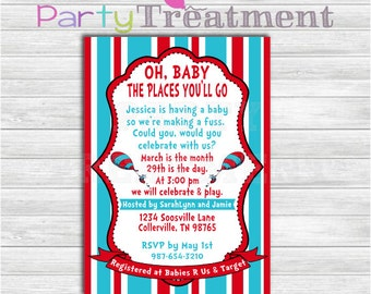 dr seuss baby shower boarding pass ticket invitation with