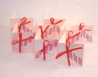 8 Red Bow and Pink Bling Mini Note Cards -  Repurposed Cardstock