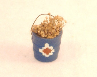 Vintage Miniature Turquoise Bucket with Dried Flowers, Red, White Native Design - Great Accessory for Your Southwest Dollhouse, Shadow Box