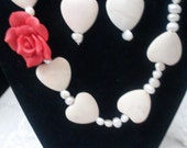 Hearts pearls flowers 16 inch necklace earring set