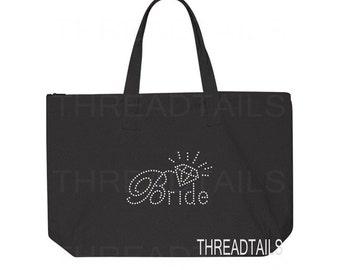 Bride Tote bag.  Large black tote, zipper top.  Bride and Diamond rhinestone design.  Wedding shower gift, honeymoon bag, bridal totes