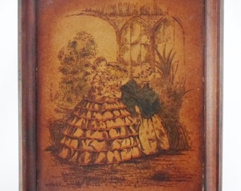 Print, Framed, Victorian, Vintage, Wall Hanging, Lady, Garden, Parasol, Gone With The Wind Dress, Art, Litho, Hand Colored, Brown, Antique
