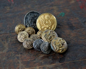 vintage metal military buttons, assorted group