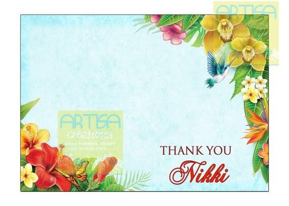 Hawaiian Tag: Hawaiian Thank You Card Hawaiian Luau Party Thank You Card
