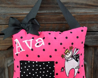 Personalized Tooth Fairy Pillow-Hot Pink & Black