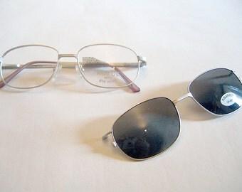 Royce Vintage 1990s Deadstock Eyeglasses Frames Matte Silver Wire Rimmed Glasses w/Removeable Sunglasses