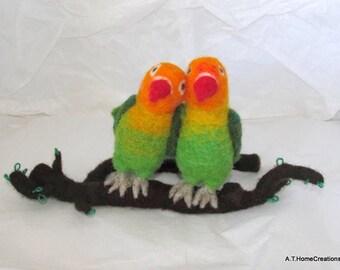 needle felted love birds on Branch OOak