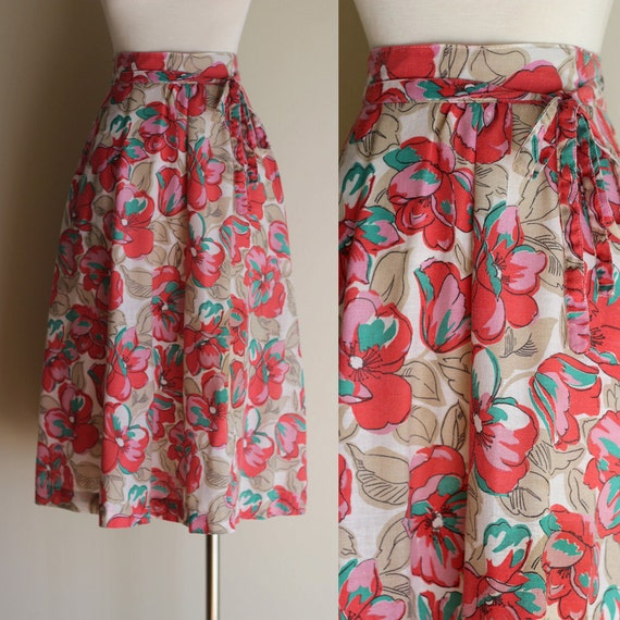 Vintage 80s Pink Floral High Waisted Midi Wrap Skirt - Long Linen Adjustable Full Skirt with Pockets - Size Medium / Large