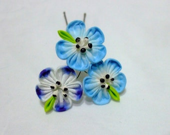 Baby blue eyes and five spot-  kanzashi hair flowers