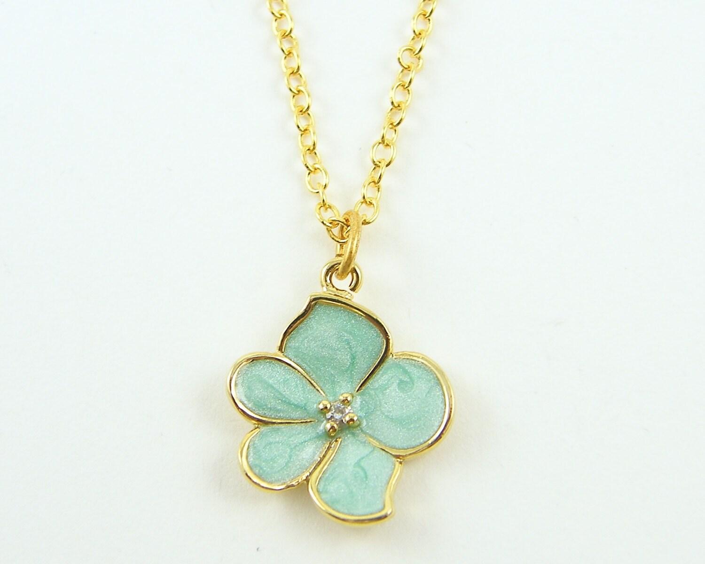 mint flower necklace mint green necklace orchid pendant