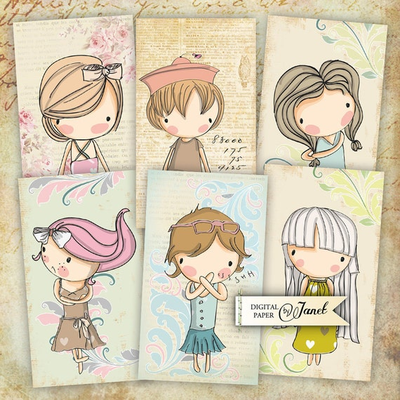 Sweet Funny Girl - digital collage sheet - set of 10 - Printable Download