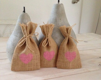 100 Pink Hessian/ Burlap Wedding Favor Bags