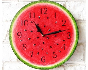 The Watermelon, Modern wall clock with numbers, White wall clock, wood clock, white home decor, kids gift, wedding gift, Kitchen style.