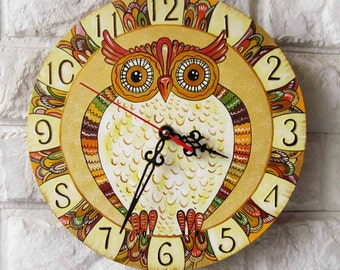 The Brown Owl  Wall Clock, Home Decor for Children Baby Kid Boy Girl wall clocks handmade