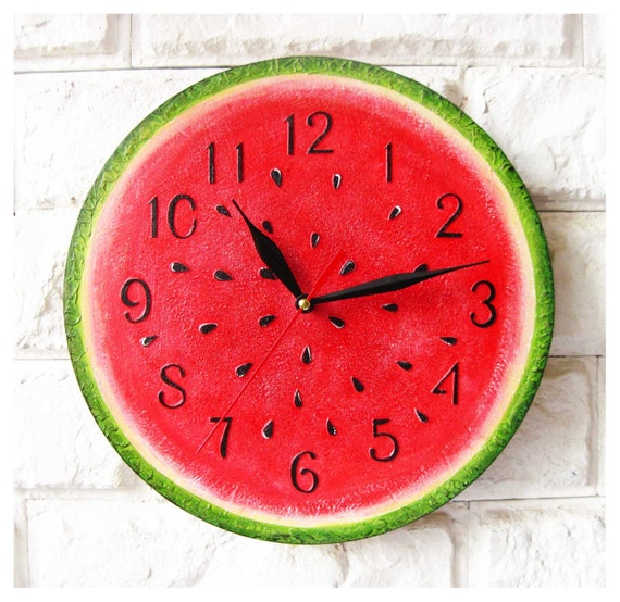 The Watermelon Modern Wall Clock With Numbers White Wall