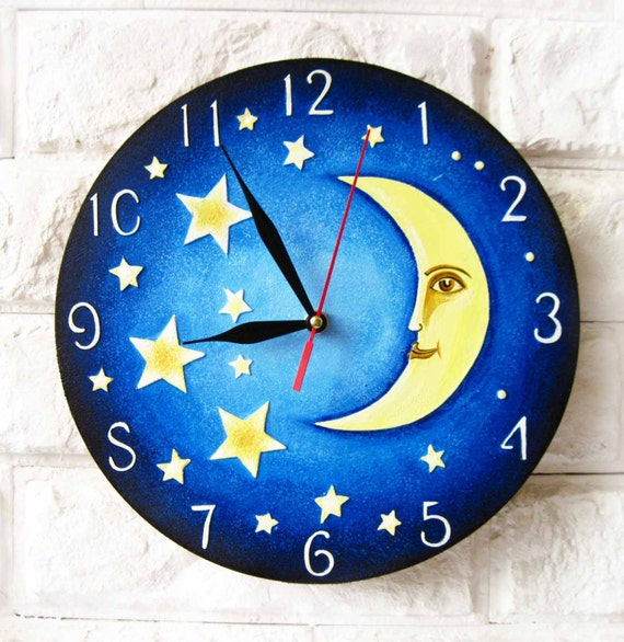 The Yellow Moon And Stars Modern Wall Clock With Numbers