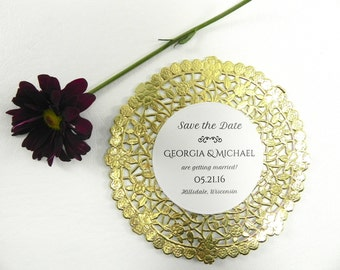 Gold Doily Wedding Save the Date - Style 123