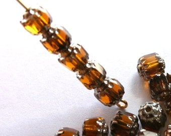 Czech Topaz Faceted Cathedral Beads with Silver Ends