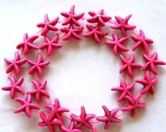 Full Strand of Pink Turquoise Magnesite Star Fish Beads