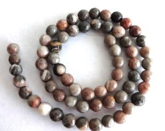 6 mm Zebra Jasper Faceted Semi Precious Gemstone beads