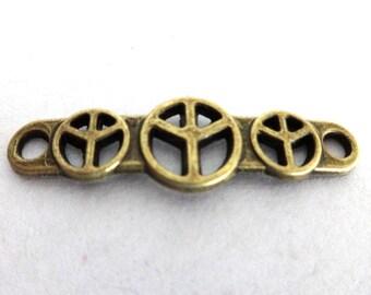 2 Antique Bronze Peace Sign Connectors/Links