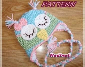Rainbow Owl crochet hat PATTERN, girl crochet pattern, pdf pattern