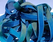 """Blue Reef  42"""" hand dyed wrist wrap bracelet silk ribbon//Yoga wrist wrap bracelet ribbons//Silk wrist wrap ribbon// By Color Kissed"""
