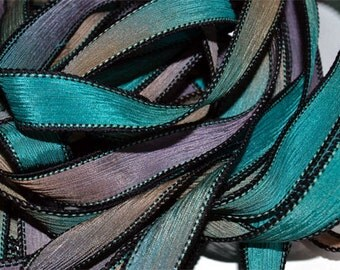 Safari  42 inch hand dyed silk ribbon// Silk wrist wrap bracelet ribbons// Yoga wrist wrap bracelet ribbons// By Color Kissed Silk